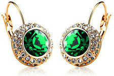 Austrian Crystal Jewellery Diamond Shine Gold & Green Circle Earrings E496