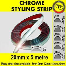 20mm x 5m CHROME CAR STYLING MOULDING STRIP TRIM ADHESIVE