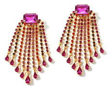 NIB-DJ by DANNIJO Crystal & Rhinestone Drop Clip-On Earrings - Fuchsia/Hyacinth