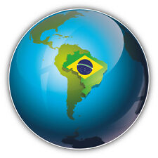Brazil Map Flag Glossy Earth Car Bumper Sticker Decal 5'' x 5''
