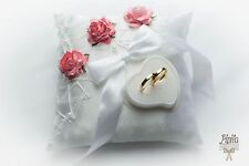 wedding ring pillow, cushion, engagement ring holder, pink roses, mariage, p17