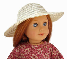 "Cream Ivory Straw Hat Bonnet made for 18"" American Girl Doll Clothes"