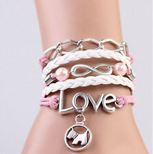 NEW Infinity Dog Love Pearl Leather Charm Bracelet plated Silver DIY Cute C111