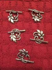 New - Set Of 5 Tibetan Leaf Toggle Clasp Findings
