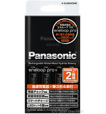 Charger + 4 Panasonic Batteries Eneloop Pro Rechargeable Batteries AA 2500 mAh