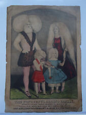 Circus Sideshow Freak Lithograph Lucasie Albino Family Currier and Ives Albinism