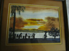 Original Painting Tropical Sunset Scene People & Trees in Silhouette signed