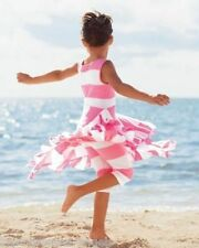 Lemon Loves Lime Pink White Beach Nautical Dress & Leggings Set Girl 7 7/8