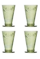 Next Set Of 4 Hand Blown Embossed Tumblers Green Butterfly Dragonfly Botanical