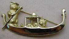 Vintage Romantic Pin Kitty Cat Couple on Gondola Boat Cute Love Gold Tone