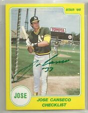 Jose Canseco 1986 Star Company Oakland A's AUTO AUTOGRAPH ROOKIE Card