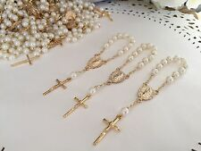 30 Mini Rosary Off White Baptism Favors /Gold Plated /Communion Favor/recuerdito