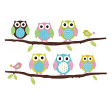 Owl Birds Branch Vinyl Baby Kids Home Decor Removable Mural Wall Stickers Decal