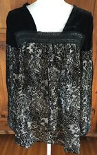 NWT $158 SUNDANCE CATALOG A SHOULDERS ABOVE THE REST  Velvet Blouse XLarge Black