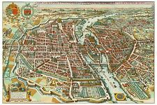 MAP ANTIQUE MERIAN 1615 PARIS CITY PLAN OLD LARGE REPLICA POSTER PRINT PAM1052