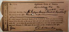 1864 Confederate States Bond June $500 Dollars Lynchburg Virginia Hand Signed