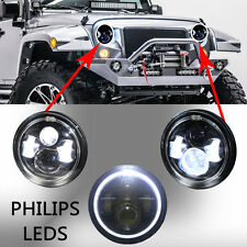 "2pcs 7"" Jeep Wrangler Led HeadLight Halo Angle Eyes for 97-2015 JK TJ LJ"