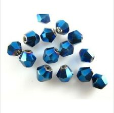 100pcs Royal Blue Glass Crystal Faceted Bicone Spacer Beads Jewelry Finding 4mm