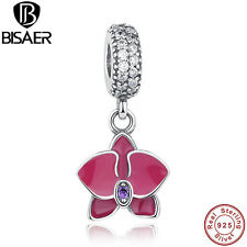 Authentic 925 Sterling Purple Orchid Clear CZ Dangle Charms Fit Original Jewelry