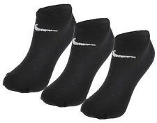 3 Paio Nike No Show Calzini Alla Caviglia Nero Uomo Donna cotone delle prestazioni UK 8-11