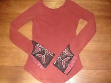 NEW FREE PEOPLE BOHO BALI BABE BURGUNDY FISHNET LACE EYELET CUFF SCOOP THERMAL S