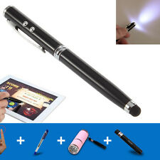 Black 4in1 LED Laser Pointer Torch Touch Screen Stylus Ball Pen for iPhone iPad