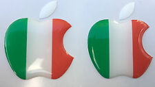 2x3D Domed ITALY flag/Apple logo stickers for iPhone,iPad cover. Size 35x30mm