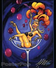 Pizz Burlesque Girl in Champagne Glass Hand Signed Print Lowbrow Painting Pinup