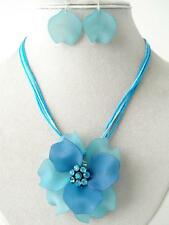 Blue Acrylic pendant Crystal Stud Blue Cord Necklace Earring