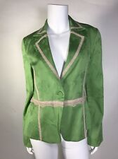 Preowned True Meaning Woman  Blazer SZ 4 US Cotton No Lining Green With Lace