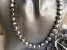 "17.5"" Silver Grey Baroque Pearl Necklace Sterling Silver Hook clasp 9-10mmPearls"