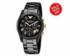 *NEW* EMPORIO ARMANI AR1410 CERAMICA BLACK ROSE MEN'S WATCH - NEXT DAY DELIVERY
