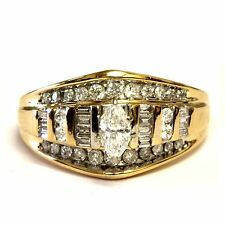 14k yellow gold .91ct SI2 H womens marquise diamond engagement ring 7.2g estate