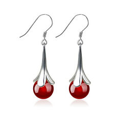 Silver Burgundy Red Agate Teardrop Dangling Water Drop Wedding Earrings E1104