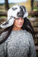 Rabbit fur Russian ushanka winter hat. White and black Trapper Bomber Ear Flap