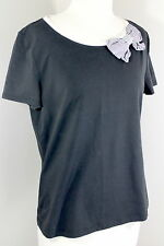 KATE SPADE Broome Street Sz L Black White Striped Bow Trim Knit Top TL1-45