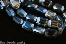 10pcs 12mm Rectangle Square Faceted  Majhong Crystal Glass Beads Blue Colorized