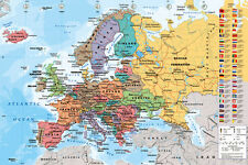 European Map of Europe POSTER LARGE 61x91cm Very Detailed NEW Wall Chart Atlas