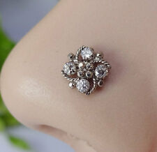 Crock Screw Nose Pin Tiny Flower Indian Nose Ring Nose Piercing Stone Jewelry CZ