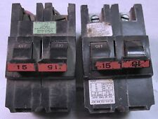 Lot of 2 Federal Pacific Electric FPE 15 Amp, 2 Phase Circuit Breakers, Stab Lok