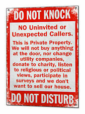 No Cold Callers Metal Sign Canvassers No Soliciting Tin Plaque