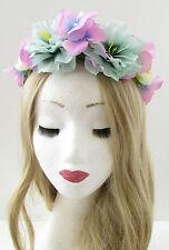 Turquoise Rose Fleur Couronne Bandeau Tête De Mort Calavera Halloween B07