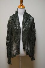 CYRUS Olive Green Crochet Granny Square Open Front Cardigan Sweater Size S/M