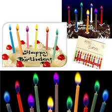 12 COLOURED CANDLES FLAMES RED PURPLE BLUE ORANGE CELEBRATION BIRTHDAY CUPCAKE
