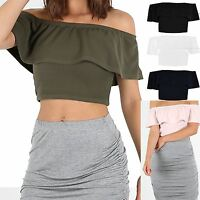 Womens Ladies Plain Crepe Frill Off The Shoulder Ruched Sleeveless Crop Top