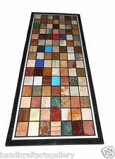 "Size 30""x60"" Marble Dining Table Top Semi Precious Stone Mosaic Inlay Home Decor"