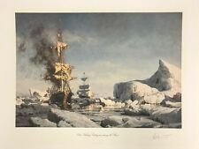 """John Stobart Artic Whaling """"Cutting In"""" Among the Floes Signed & Numbered"""