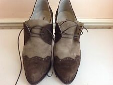 Spaziomoda Bologna Heels Lace Up Chocolate Taupe Suede Leather Plat Shoes Size 7