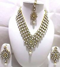 Indian Bollywood Designer Women's White Kundan Pearls Fashion Jewelry Sets