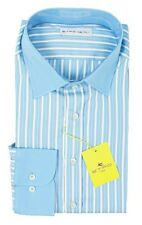 Men's ETRO Blue Striped Cotton Spread Collar Dress Shirt 16 1/2 L 42 NWT $395!